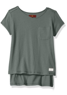 7 for all mankind Girls' Big Short Sleeve T-Shirt (More Styles Available) G2260-AgaveGreen 12/14