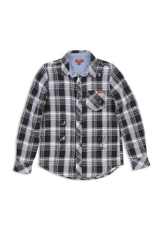 7 For All Mankind Boys' Distressed Plaid Shirt - Big Kid