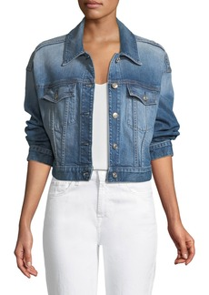 7 For All Mankind Bubble Button-Front Denim Jacket