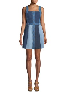 7 For All Mankind Button-Down Sleeveless Patchwork A-Line Denim Dress