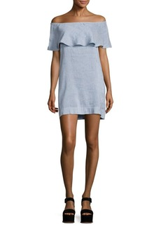 7 For All Mankind Chambray Off-The-Shoulder Dress