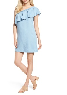 7 For All Mankind® Chambray One-Shoulder Dress
