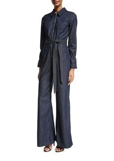 7 For All Mankind Chambray Zip-Front Jumpsuit