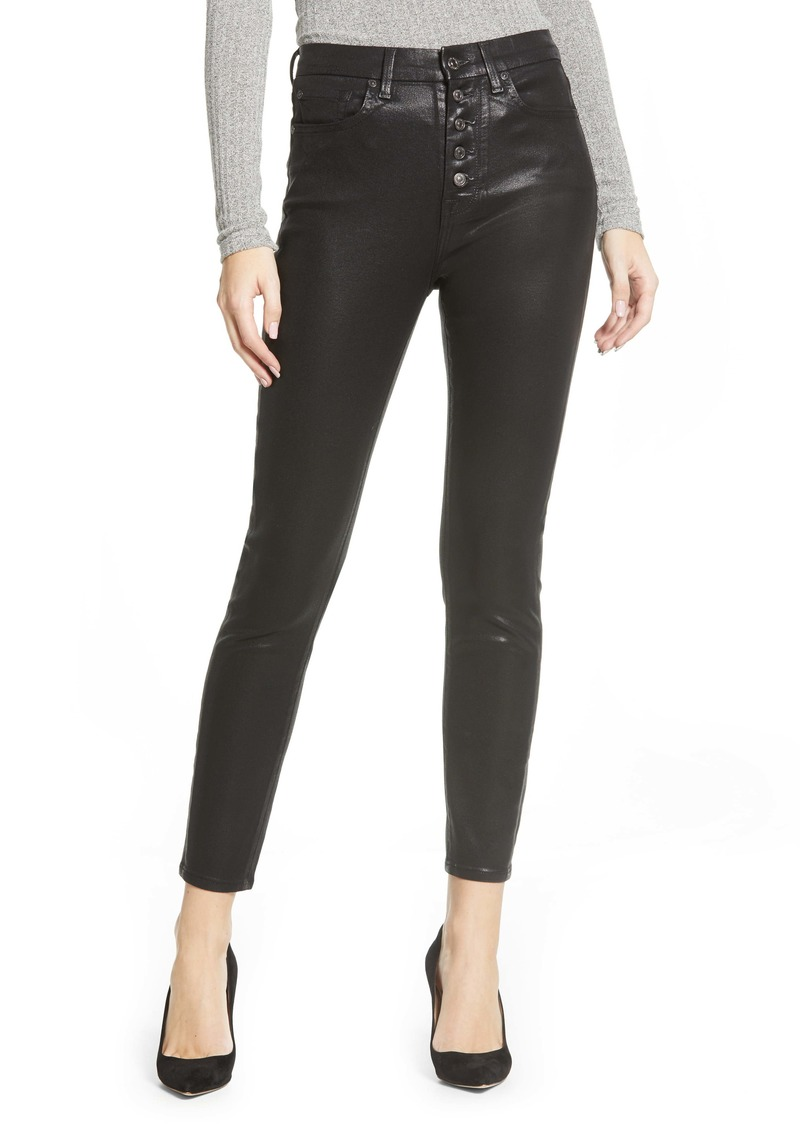 7 For All Mankind® Coated Exposed Button Fly High Waist Skinny Jeans