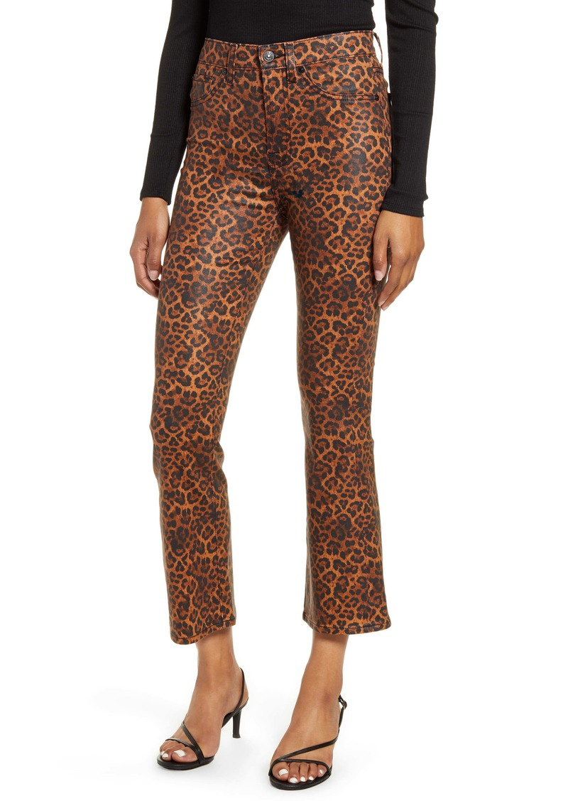 7 For All Mankind Coated Leopard Print Slim Fit Kick Flare Jeans