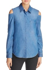 7 For All Mankind Cold Shoulder Denim Shirt