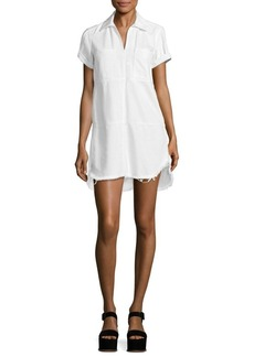 7 For All Mankind Collared Denim Dress With Frayed Hem