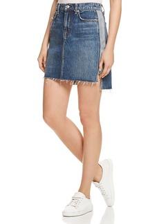 7 For All Mankind Contrast-Panel Denim Skirt in Mojave Dusk