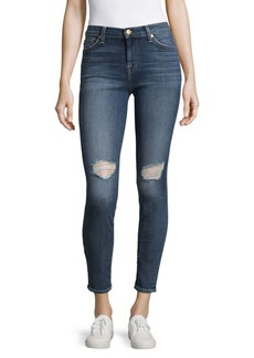 7 For All Mankind Cotton-Blend Distressed Ankle Jeans