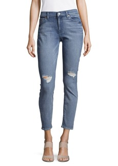 Cotton-Blend Distressed Ankle Jeans