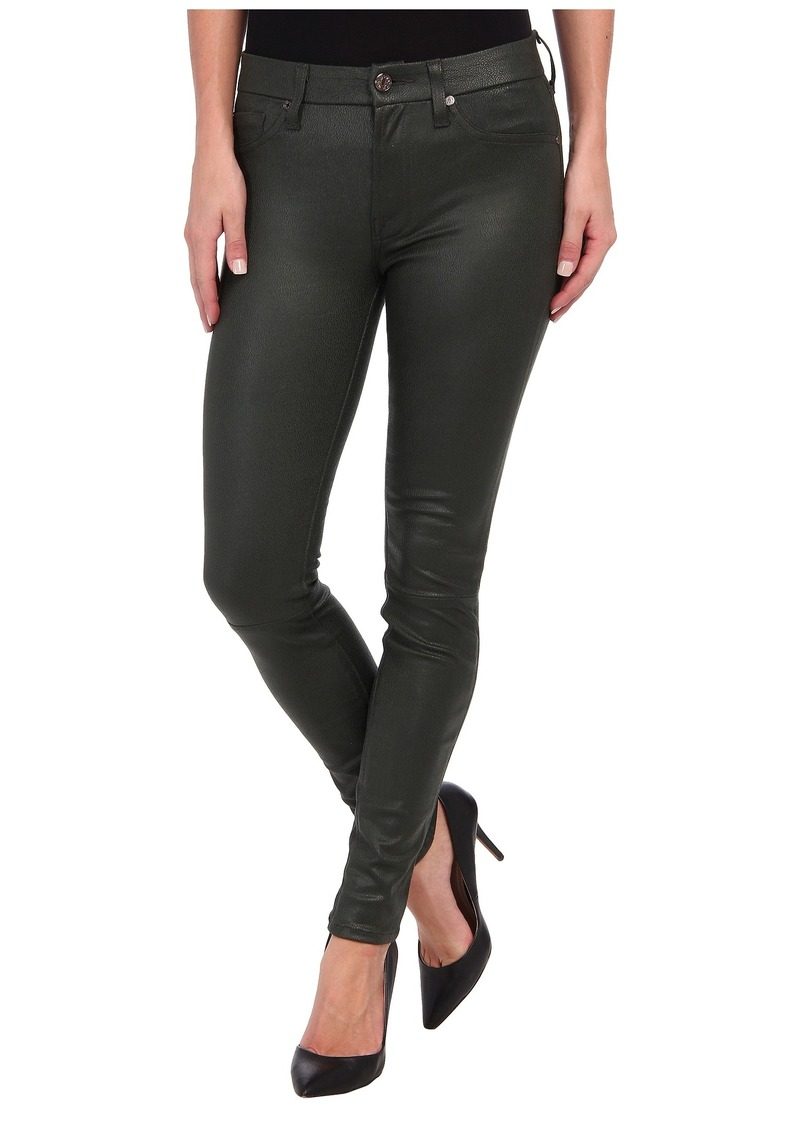7 For All Mankind Crackle Leather-Like Knee Seam Skinny w/ Contour Waistband in Forest Green Crackle