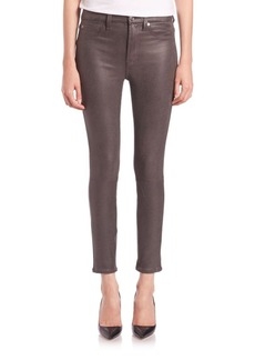 7 For All Mankind Crackled High-Rise Ankle Skinny Jeans