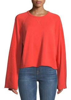 7 For All Mankind Crewneck Flare-Sleeve Crop French Terry Sweatshirt