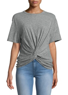 7 For All Mankind Crewneck Short-Sleeve Knotted-Front Heathered Tee