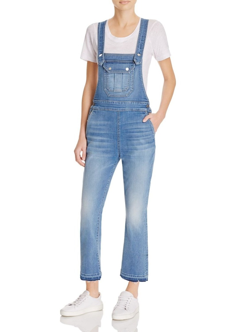 7 For All Mankind Crop Bootcut Denim Overalls in Delphi Beach