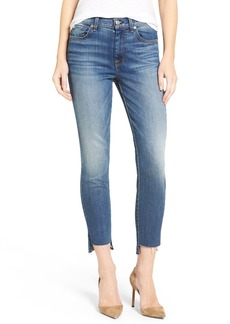 7 For All Mankind® Crop Step Hem Skinny Jeans (Distressed Authentic Light 3) (Nordstrom Exclusive)