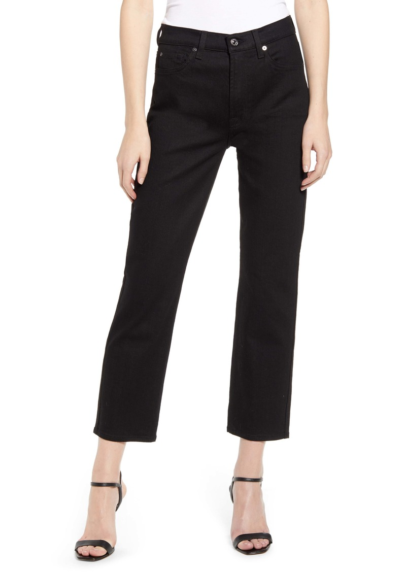 7 For All Mankind® Crop Straight Leg Jeans (No Fade Black)