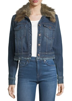 7 For All Mankind Cropped Button-Front Boyfriend Denim Jacker w/ Faux Fur