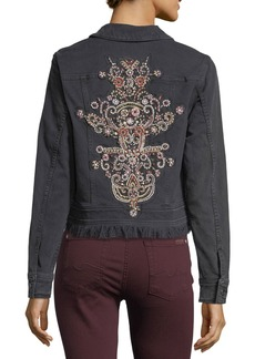 7 For All Mankind Cropped Button-Front Denim Jacket with Baroque Applique