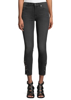 7 For All Mankind Cropped Grommet-Trim Ankle Skinny Jeans