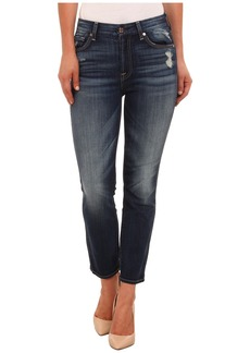 7 For All Mankind Cropped High Waist Vintage Straight in Icelandic Blue