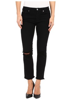 7 For All Mankind Cropped High Waist Vintage Straight w/ Raw Hem & Knee Holes in Black/Holes