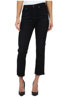 7 For All Mankind Cropped High Waist Vintage Straight w/ Raw Hem in Slim Illusion Rich Noir