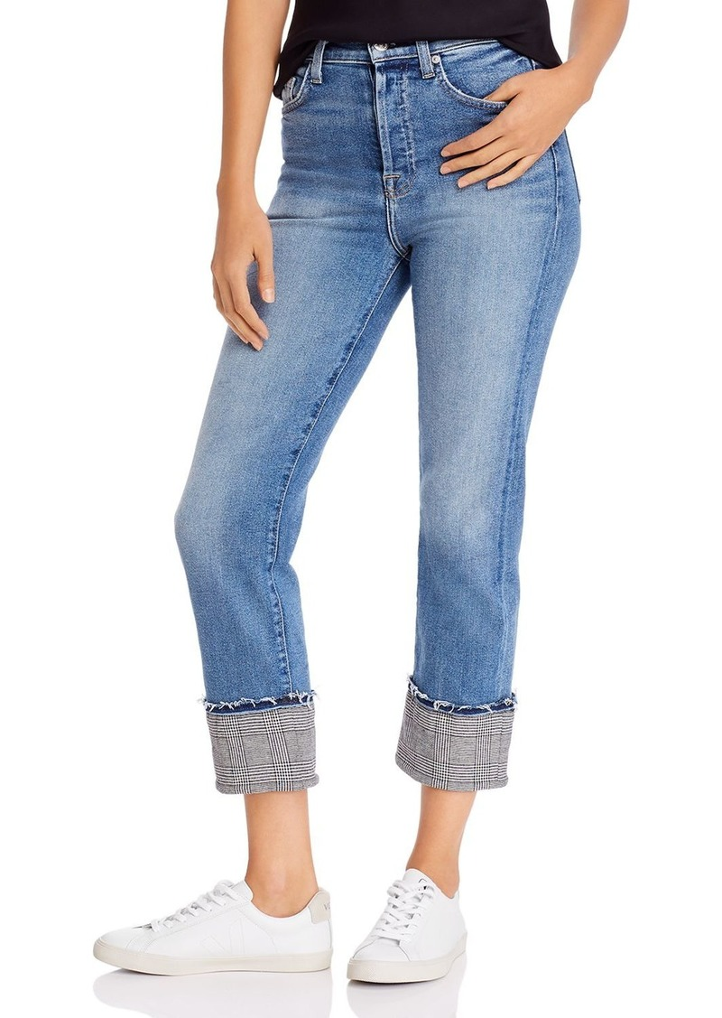 7 For All Mankind Cuffed Plaid Trim Jeans - 100% Exclusive