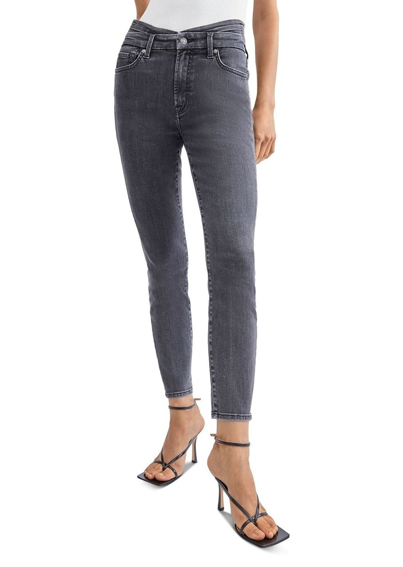7 For All Mankind Cummerbund High Waist Skinny Jeans in Trixie Blk