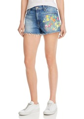 7 For All Mankind Cut-Off Floral-Embroidered Denim Shorts in Vintage Parker