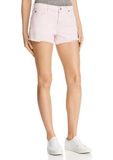 7 For All Mankind Cutoff Denim Shorts in Pearl Pink
