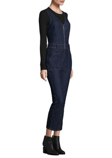 7 For All Mankind Deep-V Zip-Front Denim Overalls