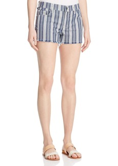 7 For All Mankind Denim Cutoff Shorts in Indigo Stripe