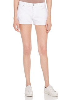 7 For All Mankind Rolled-Cuff Denim Shorts in White - 100% Exclusive