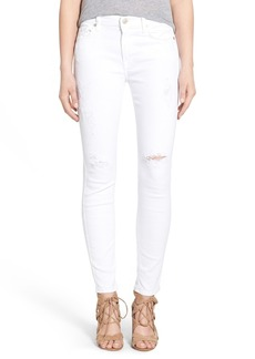 7 For All Mankind® Destroyed Ankle Skinny Jeans (Clean White)