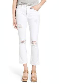 7 For All Mankind® Destroyed Crop Bootcut Jeans (Clean White)