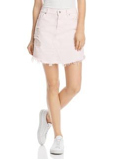 7 For All Mankind Destroyed-Hem Denim Skirt in Pink Sunrise - 100% Exclusive