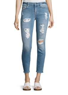 7 For All Mankind Destroyed Sequin Skinny Ankle Jeans