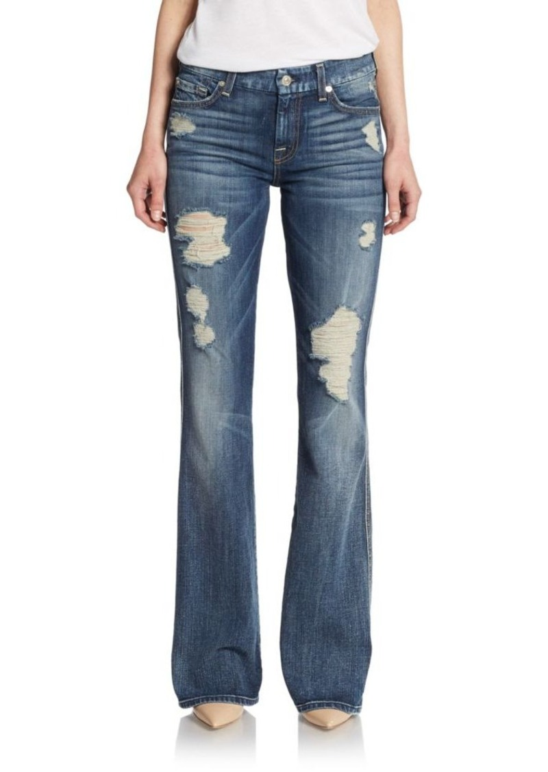 7 For All Mankind Distressed A-Pocket Flared Denim Jeans