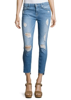 7 For All Mankind Distressed Ankle Skinny Jeans with Step Hem