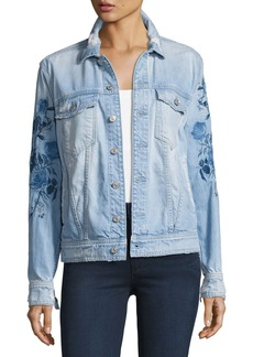 7 For All Mankind Distressed Boyfriend Jacket W/Blue Roses