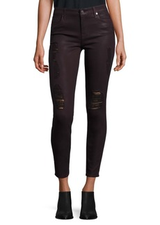 7 For All Mankind Distressed Coated Skinny Jeans