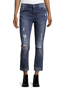 7 For All Mankind Distressed Cropped Boyfriend Jeans