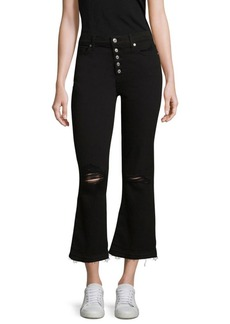 7 For All Mankind Ali Distressed Cropped Flare Jeans