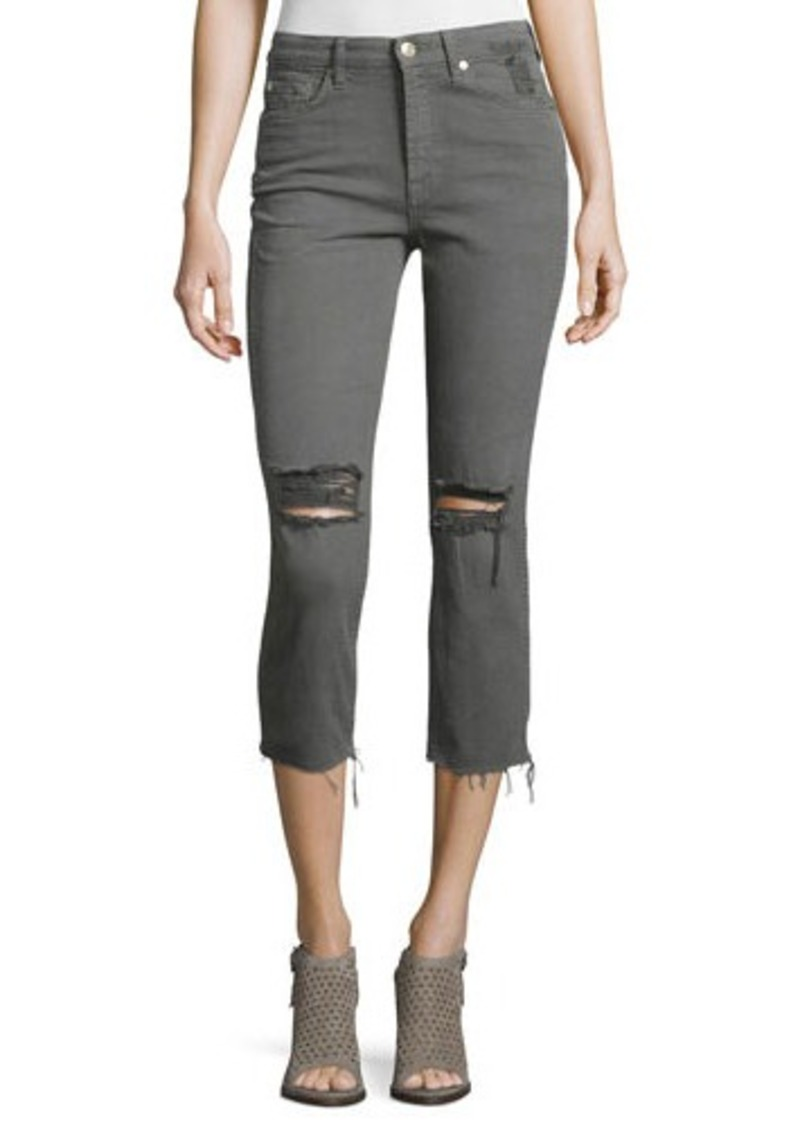 7 For All Mankind Distressed Cropped Jeans W/Raw Hem