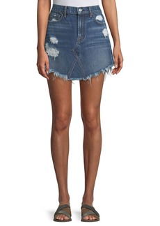 7 For All Mankind Distressed Denim A-Line Mini Skirt