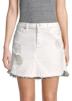 7 For All Mankind Distressed Denim Mini Skirt