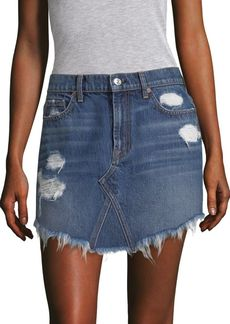 7 For All Mankind Distressed Denim Skirt