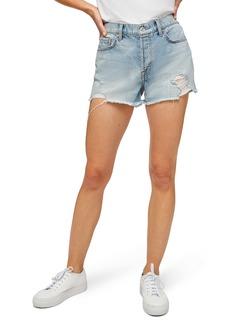 7 For All Mankind® Distressed Monroe High Waist Cutoff Denim Shorts (Cosmic Blue)