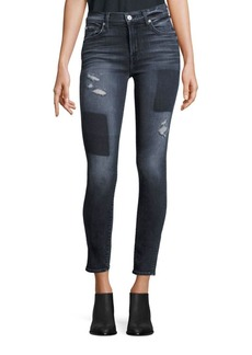 7 For All Mankind Distressed Patched Skinny Jeans